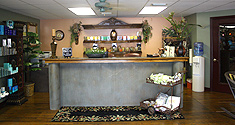 The reception desk at our Panama City Salon
